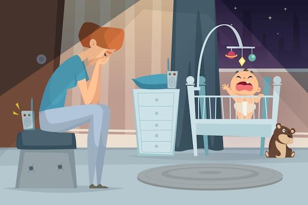 우울한 엄마. 침대 아픈 아이 벡터 만화 배경에서 비명 아기 근처에 앉아 피곤된 여자. 피곤하고 우울증, 아기와 어머니 그림