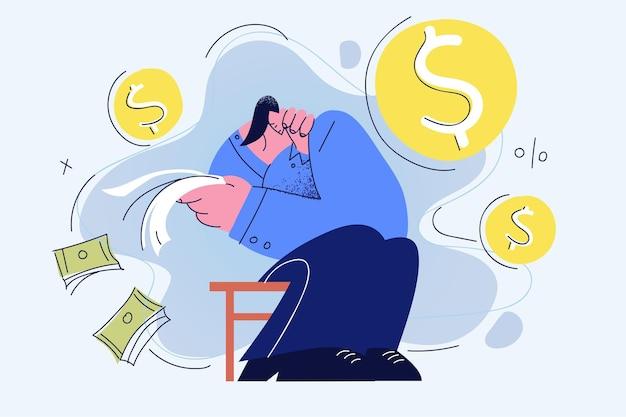 Депрессия и банкротство концепции иллюстрации