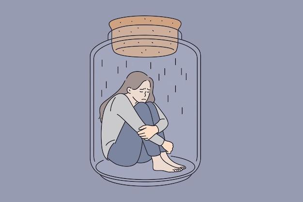Концепция депрессии и психического здоровья. молодая подчеркнутая грустная женщина, сидящая в стеклянной банке, обнимая колени, плохо себя чувствует векторная иллюстрация