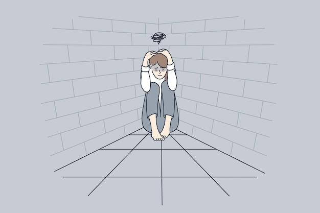Депрессия, плохие мысли, концепция горя.