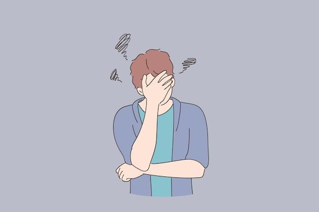 우울증, 나쁜 생각, 스트레스 개념. 젊은 남자 만화 캐릭터 손으로 얼굴을 덮고 불행하고 사려 깊은 느낌