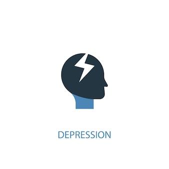 うつ病の概念2色のアイコン。シンプルな青い要素のイラスト。うつ病の概念のシンボルデザイン。 webおよびモバイルui / uxに使用できます