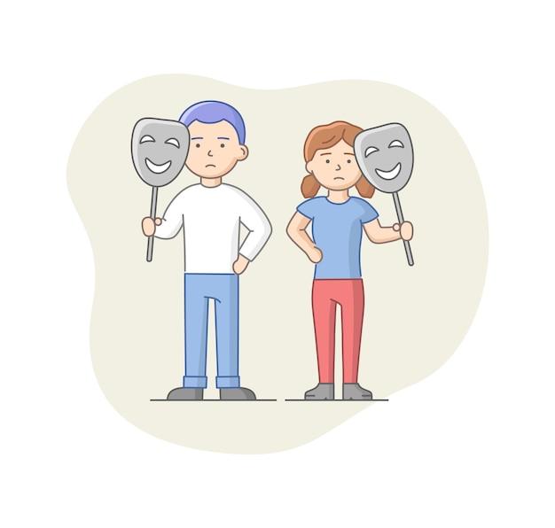 Понятие депрессии. персонажи, страдающие депрессией. печальный мужчина и женщина, стоя вместе, держа маски. маскировка эмоций и выгорание.