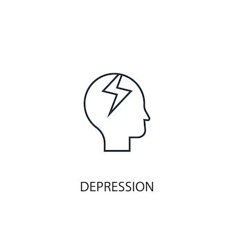 Depression concept line icon. simple element illustration. depression concept outline symbol design. can be used for web and mobile ui/ux