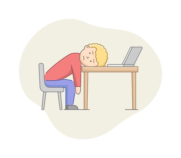 うつ病の概念。男性のキャラクターはうつ病に苦しんでいます。オフィスの机の上に横たわっている仕事人にうんざりして燃え尽きました。強調された感情状態。