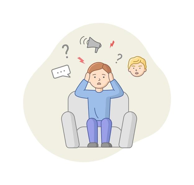 Понятие депрессии. мужской персонаж страдает депрессией. озадаченный человек, сидящий в кресле с большим количеством мыслей в голове. стресс, сокрытие эмоций.