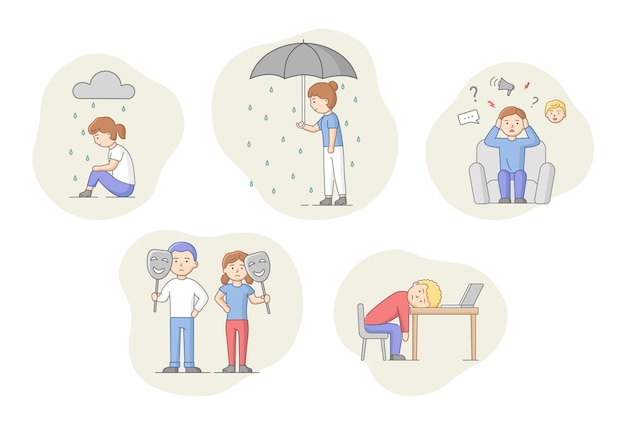 Depression concept. set of characters suffering from depression. sad men and women under the rain. overcast weather, emotions concealment and burnout. cartoon linear outline flat vector illustration.