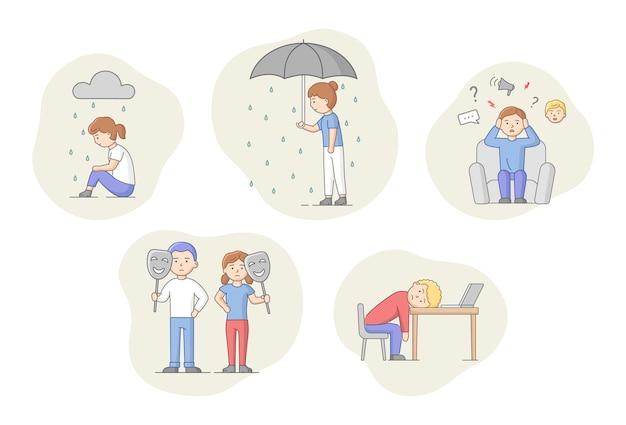 우울증 개념. 우울증으로 고통받는 문자의 집합입니다. 비가 아래 슬픈 남자와 여자. 흐린 날씨, 감정 은폐 및 소진. 만화 선형 개요 평면 벡터 일러스트 레이 션.