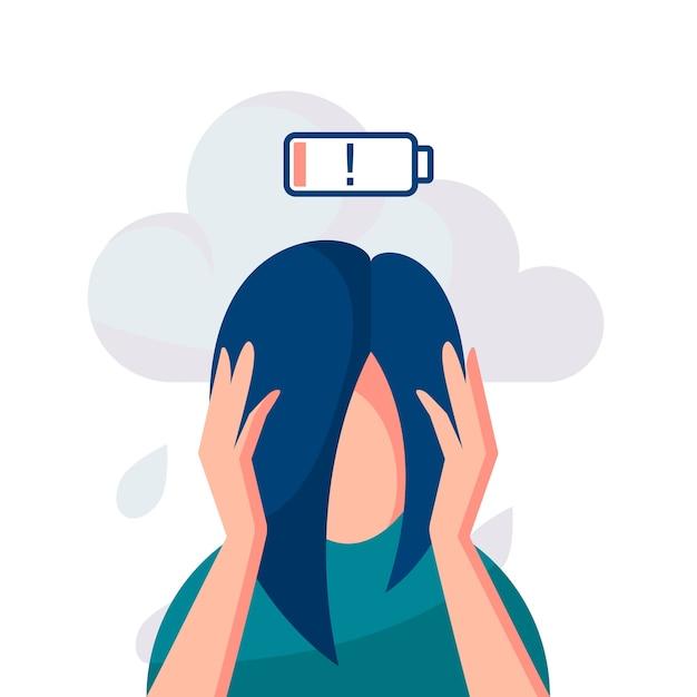 우울증 개념. 그녀의 머리를 잡고 정신 질환으로 고통받는 여성