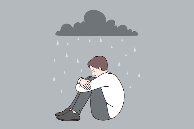 Depression and feeling lonely concept