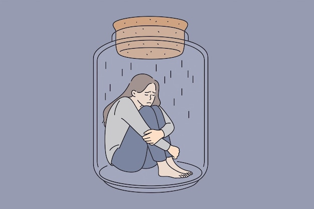 Depression and mental health concept. young stressed sad woman sitting in glass jar embracing knees feeling bad vector illustration