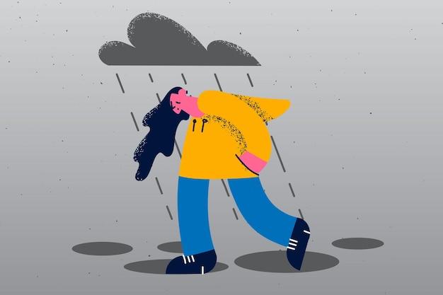 외로운 개념을 느끼는 우울증 슬픔