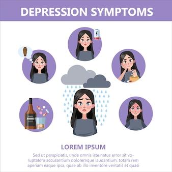 Признаки и симптом депрессии. инфографика для людей