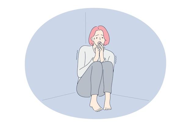 우울증, 눈물, 슬픔 개념.