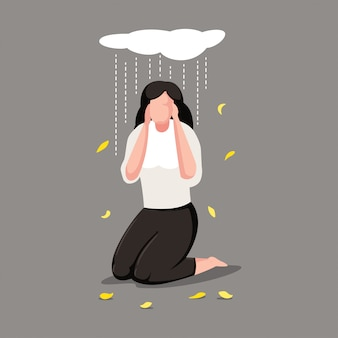 Depression woman character