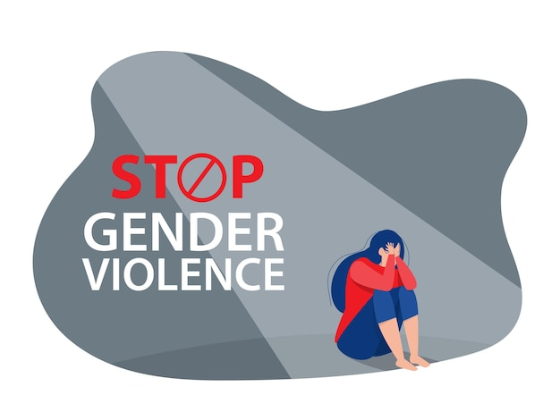 The depression woman sit on the floor,stop violence against women concept, vector Premium Vector