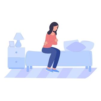 우울한 슬픈 사람 화난 여자가 침대에 앉아 정신 건강 기분 그네 r