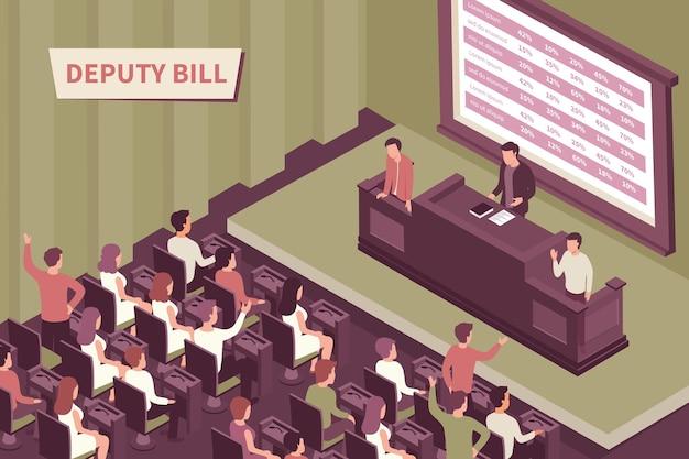 Депутат представляет законопроект перед аудиторией 3d изометрические