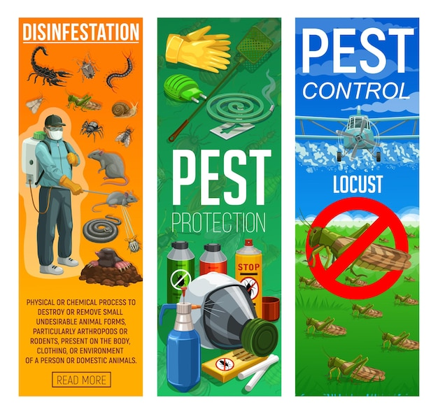 Deratization and disinfection, rodents and insects pests control banners