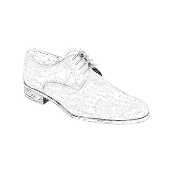 Derby shoe illustration in hand drawn vector