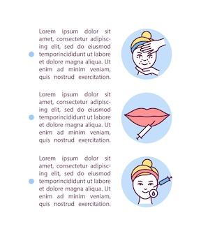 Значок концепции кожных наполнителей с текстом. женщина получает инъекции в губы. спа салонные процедуры. шаблон страницы ppt.