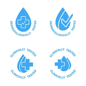 Dermatologically and clinically tested icons blue labels with water drop and medical cross