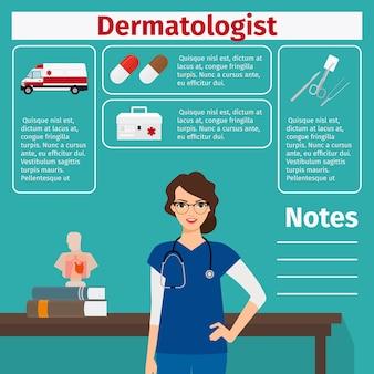 Шаблон дерматолога и медицинского оборудования