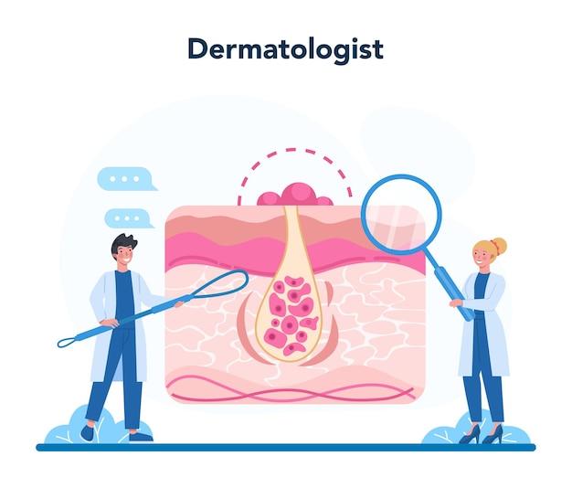Концепция дерматолога. специалист-дерматолог, лечение кожи лица или угрей. идея красоты и здоровья. схема эпидермиса кожи.