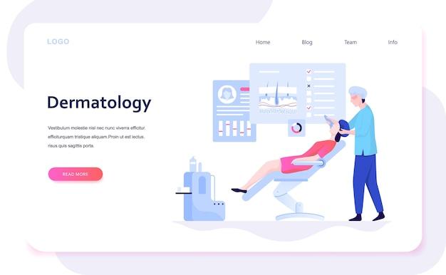 Иллюстрация концепции дерматолога. специалист дерматолог, кожа лица