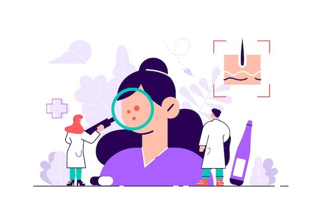 皮膚科医のイラスト。平らな小さな皮膚医師の人の概念。抽象的な表皮の病気、問題、病気の診断または治療。専門家の診察による健康医療の保護