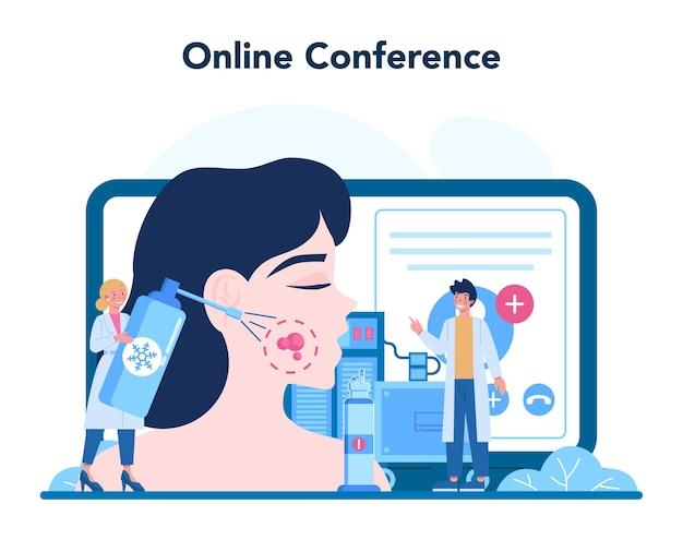 皮膚科医のオンラインサービスまたはプラットフォーム。皮膚科のスペシャリスト、顔の皮膚またはニキビの治療。美しさと健康のアイデア。オンライン会議。ベクトルイラスト