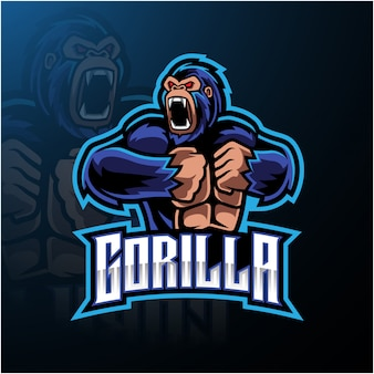Злой горилла талисман логотип desain