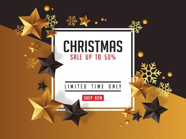 Роскошный рождественский плакат deseign с золотыми звездами