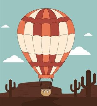 Дизайн воздушной шары над иллюстрацией deserscape backgroundvector