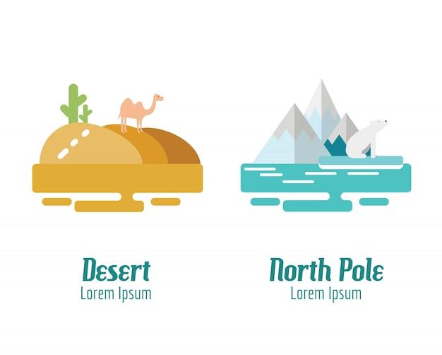 사막과 북극 풍경. 평면 디자인 요소. 벡터 일러스트 레이 션