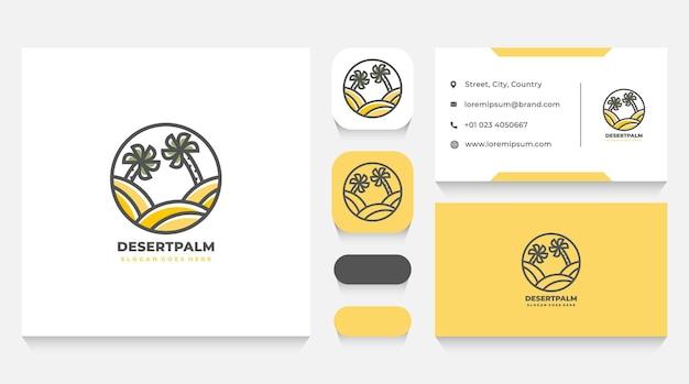 Шаблон логотипа пустыни и пальмы и визитная карточка
