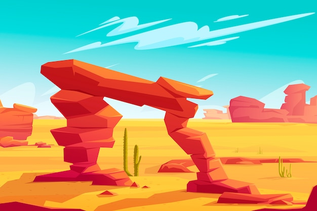 Desert arch on natural landscape illustration