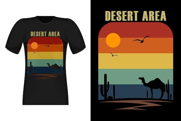 キャメルシルエットの砂漠地帯ヴィンテージレトロtシャツデザイン