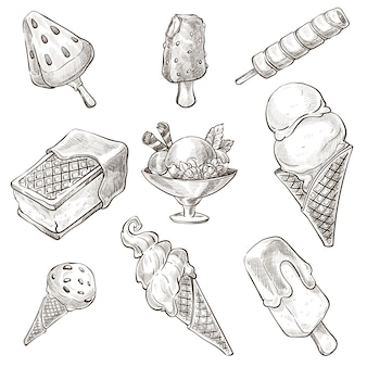 Ассортимент пустыни, наброски мороженого, монохромный набросок