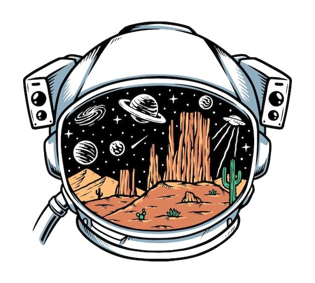 Desert in astronaut helmet illustration