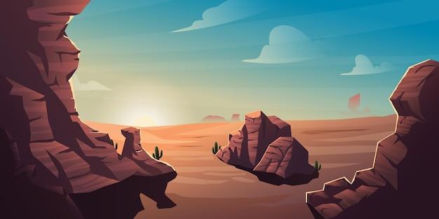 砂漠の背景、デスバレーの夕日の風景のイラスト