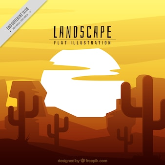 Desert background with cactus at sunset