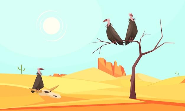Desert birds landscape composition