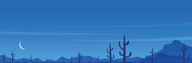 Desert and cactuses night scene panoramic banner