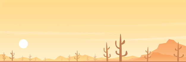 Desert and cactuses panoramic