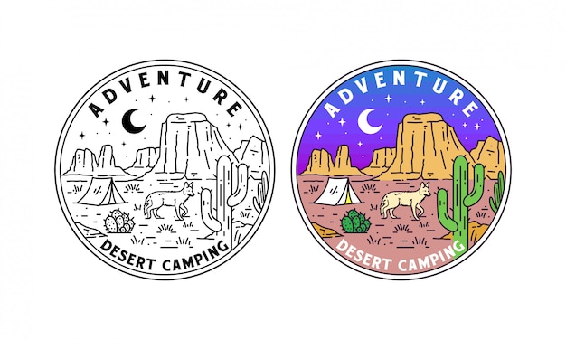 砂漠のキャンプモノラインバッジ