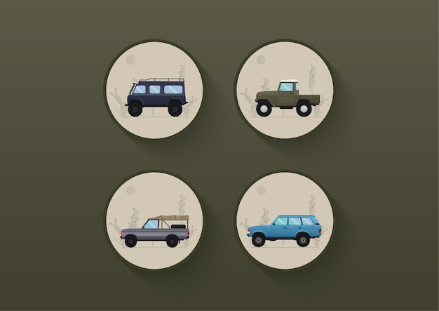 Desert car ,off road car set and cactus background illustration