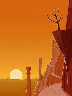 사막 절벽과 좁은 길