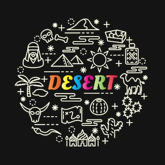 Desert colorful gradient with line icons set