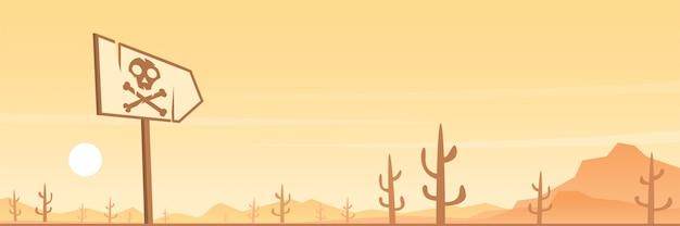 Desert and danger sign panoramic